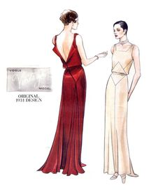 Vogue 2241 Vintage Model 1930's Art Deco Evening Dress with Open Back and Godets Sewing Pattern