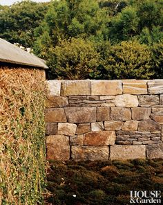 Rustic Garden in Massachusetts  Great stone wall, love the intermix of small stacks with large stones