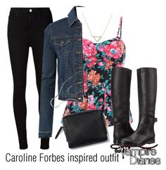 """Caroline Forbes inspired outfit/TVD"" by tvdsarahmichele ❤ liked on Polyvore featuring AG Adriano Goldschmied, MM6 Maison Margiela, LE3NO and Banana Republic"