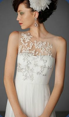 Well I've fallen in love with this beautiful flower Illusion neckline wedding dress