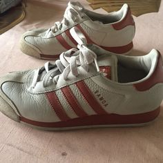 Adidas Samoa Cream and burnt orange sneakers. Great used condition. Worn a handful of times. Fits true to size. Offers welcomed! Adidas Shoes Sneakers