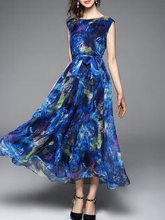 Blue A-line Sleeveless Printed Maxi Dress