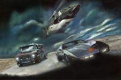 Knight Rider, Airwolf, A-Team Limited Edition Art Print Gta 5, Classic Tv, Classic Cars, Kitt Knight Rider, K 2000, A Team Van, Mustang, 80 Tv Shows, The A Team