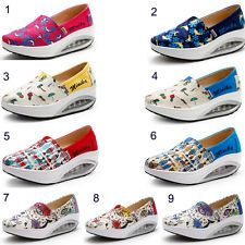 NEW Women Canvas Slip On Walking Fitness Shoes Slimming Swing Platform Wedges