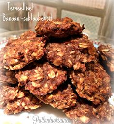 Terveelliset Banaani-Suklaakeksit Quick Healthy Breakfast, Healthy Snacks For Kids, Healthy Treats, Healthy Recipes, Healthy Food, Vegan Baking, Healthy Baking, Crunch Cake, Fun Desserts