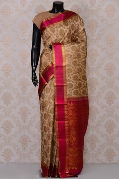 #Beige excellent #kanchipuram silk #saree with pink border-SR18663 - #PURE KANCHIPURAM SILK SAREE #Sarees
