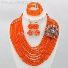 Orange African Nigerian Beaded Jewelry Set,African Nigerian Beaded Necklace,Crystal Beads Necklace,African Beaded Necklace