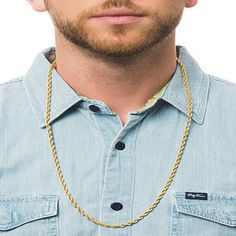 4mm 30 Inch/28 Inch/26 Inch/24 Inch Long Necklace Jewelry, New 18K Gold Rope Chain For Men