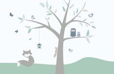 Animal Tree - green - Fototapeter & Tapeter - Photowall