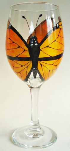 Hand Painted Butterfly Wine Glasses by Wine Me by WineMe on Etsy, $35.00
