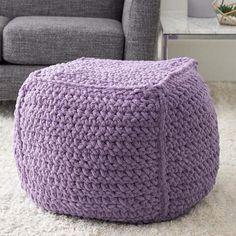 Crochet Pouf Pattern, Crochet Pillow, Knitted Ottoman, Knitted Blankets, Knitting Patterns, Crochet Patterns, Pillow Patterns, Knitting Ideas, Crochet Furniture