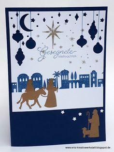 """Orientalische #Weihnachtskarte """"Heilige Nacht""""   https://eris-kreativwerkstatt.blogspot.de/2017/12/orientalische-weihnachtskarte-heilige.html  #stampinup #teamstampingart #teameriskreativwerkstatt #weihnachten #karte"""