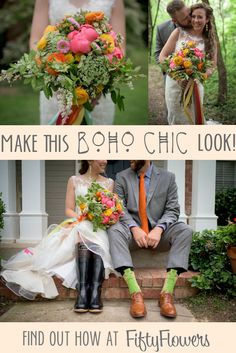 Vibrant and fun, this look is perfect for a Bohemian Wedding! See how to Make this Look at FiftyFlowers.com!