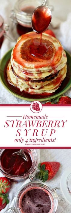 Move over IHOP! My strawberry syrup is SO easy to make, and it takes only 4 INGREDIENTS! It's perfect for pouring over the top of a big stack of pancakes or for making STRAWBERRY MILK! Strawberry Syrup Recipes, Strawberry Milk, Over The Top, Dessert Sauces, Dessert Recipes, Milk Recipes, Desserts, Move Over, Best Pancake Recipe