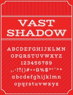 Vast Shadow - by Sorkin Type Co (free on Font Squirrel) 100 Free Fonts, Font Squirrel, Typography, Lettering, Vintage Labels, Logo Branding, Insight, The 100, Alphabet Fonts