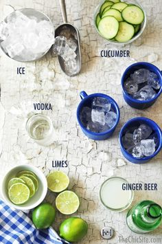 Ingredients for a Moscow Mule ~ You'll need Vodka, Ginger Beer, Limes, Cucumbers and Ice