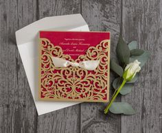Champagne gold laser cut personalised wedding invitations with bows - red insert