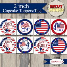 Fourth+of+July+Tags+and+Cupcake+Toppers+by+M2MPartyDesigns+on+Etsy,+$3.99