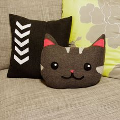 kitty cat decorative pillow  in gray and pink  by regansbrain, $37.00