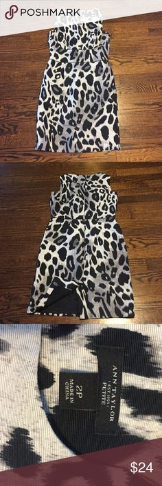 Ann Taylor Sheath Dress Perfect condition Animal print sheath dress. Length from armpit to bottom is 26.5 inches. 2 petite. 76% cotton, 24% silk. This will NOT ship right away because I will dry clean it first! Ann Taylor Dresses
