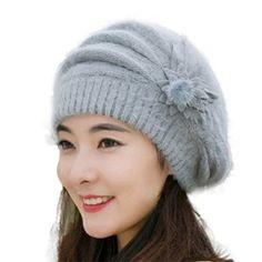 Chapeau, Malloom Hiver Chapeau Chaud Femmes De Mode Béret Fleur Tricot Crochet Bonnet (Gris): Tweet Emballage inclus: 1PC chapeau Matériel:…