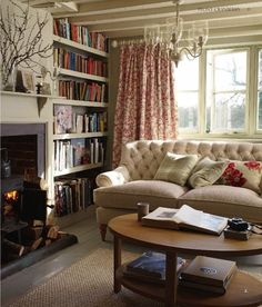 An English cottage interior living room, decorated by Laura Ashley.