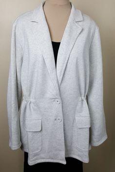 J. Jill blazer jacket light heather gray sweatshirt fleece adjustable waist 2X #JJill #FleeceJacket