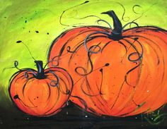 Art Original Acrylic | Two Pumpkins | Original arylic painting on 16 x 20 canvas. on Etsy, $45.00