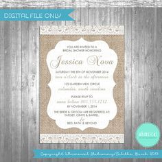Bridal Shower Invitations Burlap & Lace by WhimsicalStationery