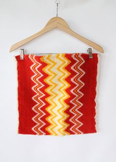 Vintage 70s Woven Zig Zag Red & Yellow Bag // Computer Case. $28.00, via Etsy.