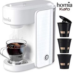 Coffee Maker Machine Single Serve Electric Brewer for Ground Coffee Kcup Ð¡ompatible 10 oz 300 ml bar Pump with Reusable Capsules and Automatic ShutOff Stainless Steel White *** Check out the image by visiting the link. (This is an affiliate link) Espresso Maker, Espresso Machine, Ice Pop Maker, Coffee Maker Machine, Savarin, 5 Bar, Pan Set, Mixing Bowls, Bakeware