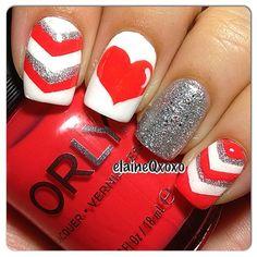 valentine by elaineqxoxo #nail #nails #nailart | See more at http://www.nailsss.com/acrylic-nails-ideas/3/