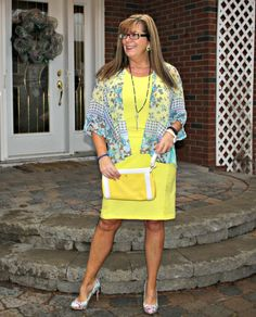 Old Navy Yellow Shift, Floral kimono, floral pumps from shoe dazzle and Eternal necklace. Kate spade yellow clutch