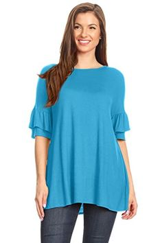 6622375f1ca366 Womens Tunic Tops to Wear with Leggings Ruffle Sleeve Reg and Plus Size  Tunics T Shirts