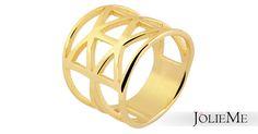 Verspielter Edelstahlring in gold IP Goldbeschichtung Hochwertige Qualität und angenehmer Tragekompfort Maße: 20mm Breite, Verjüngung 10mm  Art.-Nr.: 0015500XX010655