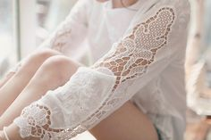 lacy detail on the sleeves