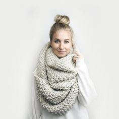 Infinity Blanket Scarf, Chunky Knit ⨯ The Jacmel ⨯ In Oatmeal Crochet For Beginners Blanket, Crochet Blanket Patterns, Scarf Patterns, Knitting Patterns, Crochet Ideas, Crochet Projects, Beginner Crochet, Irish Crochet, Knitting Ideas