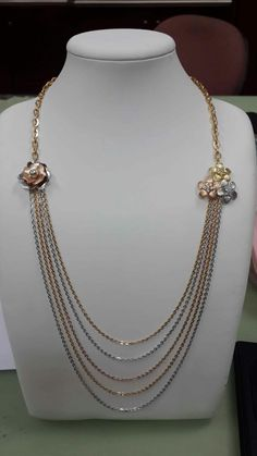 18k Rose, White & Yellow Gold Layers Chanel Necklace