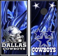 Dallas Cowboys pair of Custom Cornhole board game decal wraps bean bag skins #Unbranded