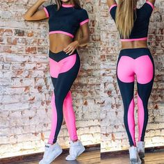 e77db09d5c Hot Sale Rosy Women Yoga Sets Gym Sports Crop tops + Elastic Patchwork Pant  Fitness Running Suit Clothing Workout Sport Wear