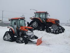 Kubotas with tracks. by Bud Ragan Big Tractors, Case Tractors, Vintage Tractors, Compact Tractor Attachments, Tractor Accessories, Landscaping Equipment, Lawn Mower Tractor, Kubota Tractors, Snow Machine