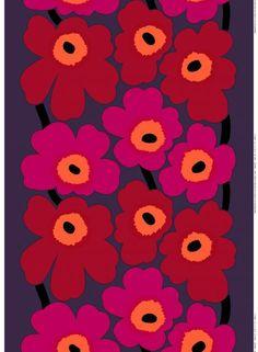 Unikko-paksu puuvilla (violetti, punainen, oranssi) |Kankaat, Puuvillakankaat | Marimekko