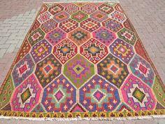 VINTAGE Turkish Kilim Rug Carpet Cicim Embroidered by sofaART, $449.00
