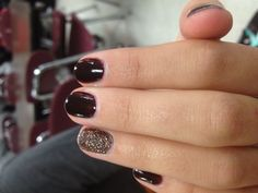 The perfect fall nails-Dark maroon and silver glitter