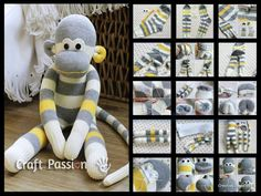 Créer un doudou singe à partir d'une paire de chaussette :-) We've put together lots of Sock Animals that you are going to love to make. Check out all the free patterns and tutorials now. Sock Crafts, Fun Crafts, Sewing Crafts, Sock Monkey Pattern, Craft Projects, Sewing Projects, Sewing Tutorials, Sock Dolls, Rag Dolls