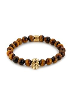 Northskull - Yellow Tiger Eye & Perforated Gold Skull Charm Bracelet