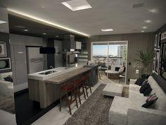 Projeto do escritório Atelier da Reforma - Sala e cozinha integrada - Render SketchUp + V_ray
