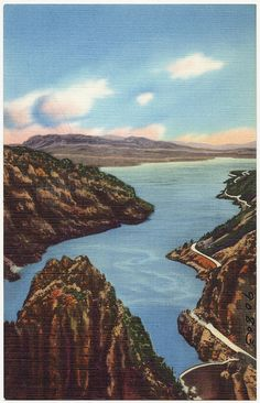 Title: Buffalo Bill Dam and Lake on Cody Road to eastern entrance of Yellowstone National Park.  Date issued: 1930 - 1945 (approximate)