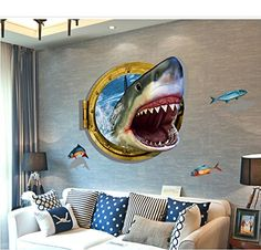 3D Selfadhesive Removable Break Through the Wall Vinyl Wall StickerMural Art Decals Decorator Vivid Shark Mouth236 X 354 >>> You can get more details by clicking on the image.