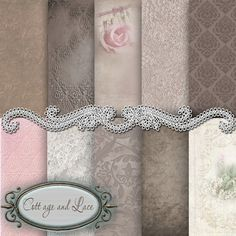 Vintage Lace Digital Background Taupe and Pink by CottageAndLace